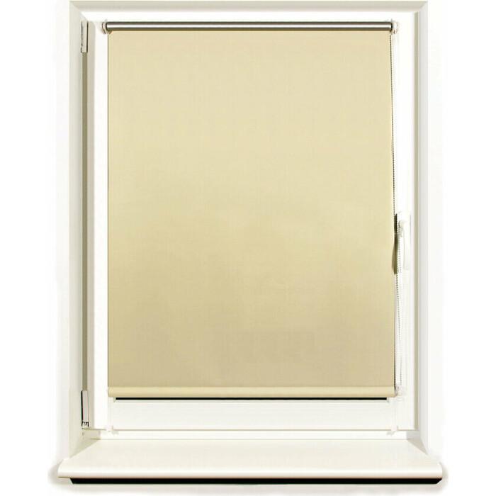 Штора рулонная светонепроницаемая (Блэкаут) Brabix 100x175 см кремовый/серебро 606016