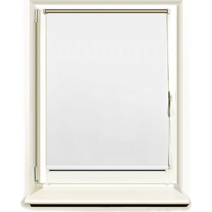 Штора рулонная светонепроницаемая (Блэкаут) Brabix 120x175 см белый/серебро 606017