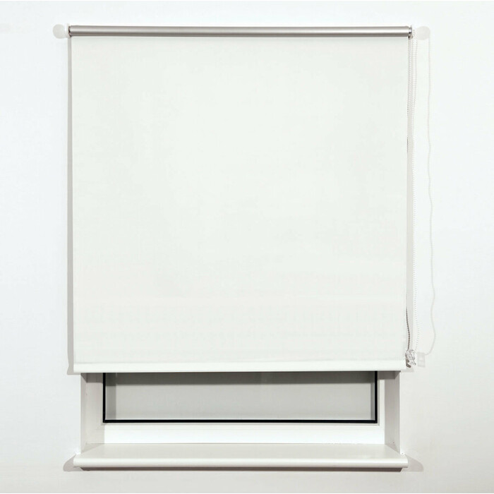 Штора рулонная светонепроницаемая (Блэкаут) Brabix 140x175 см белый/серебро 606019