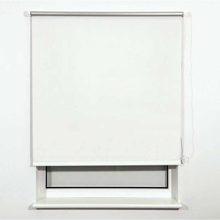 Штора рулонная светонепроницаемая (Блэкаут) Brabix 160x175 см белый/серебро 606021