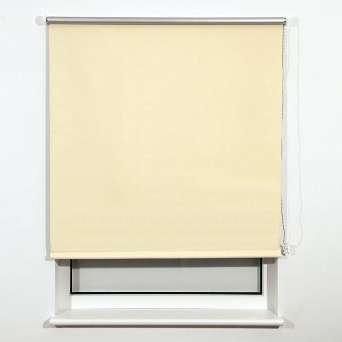 Штора рулонная светонепроницаемая (Блэкаут) Brabix 160x175 см кремовый/серебро 606022