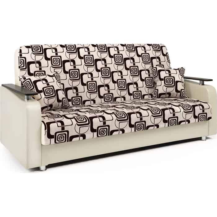 Диван-кровать Шарм-Дизайн Мелодия ДП №1 140 шенилл ромб и экокожа беж