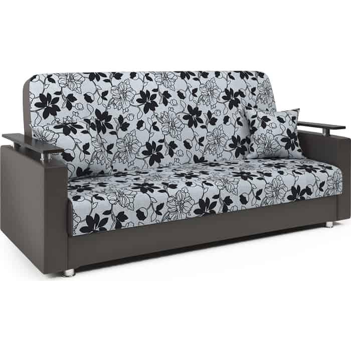 Диван-кровать Шарм-Дизайн Мелодия ДП №2 140 шенилл цветы и экокожа шоколад