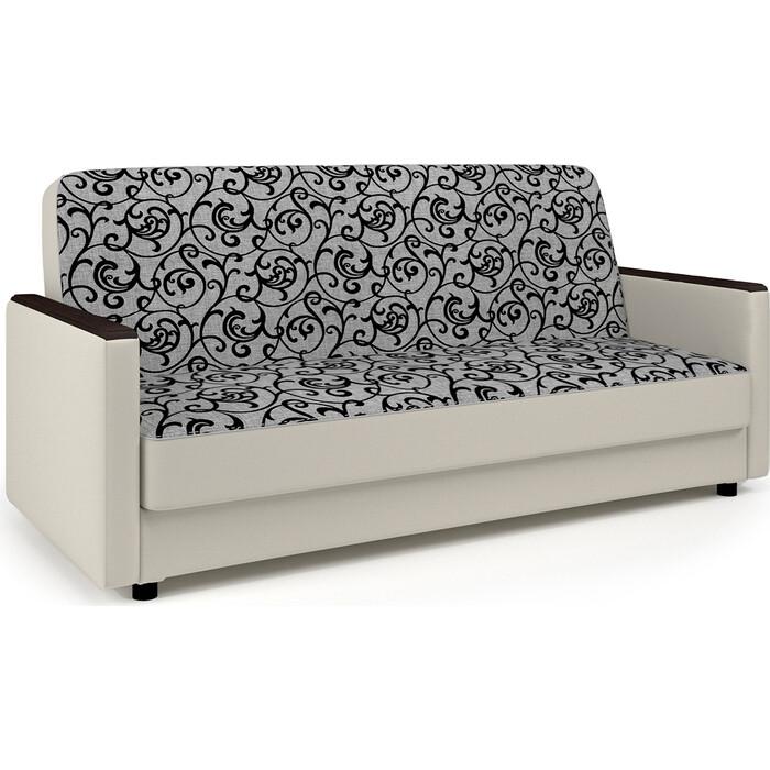 Диван-кровать Шарм-Дизайн Классика Д 140 узоры и экокожа беж