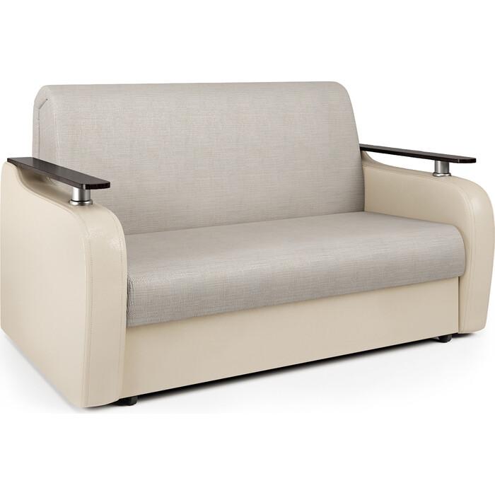 Диван-кровать Шарм-Дизайн Гранд Д 100 экокожа беж и шенилл