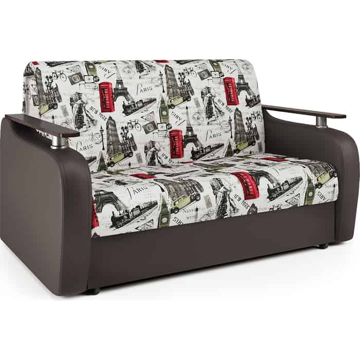 Диван-кровать Шарм-Дизайн Гранд Д 120 велюр Париж и экокожа шоколад