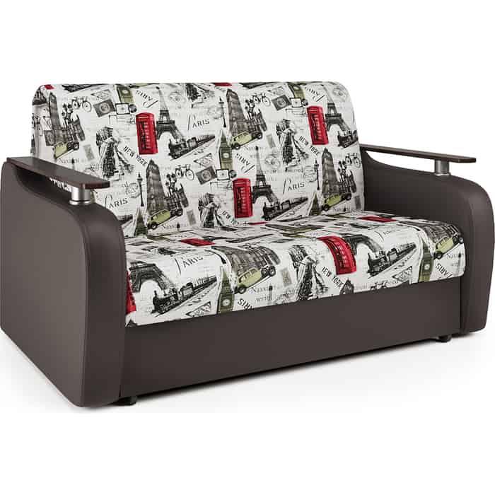 Диван-кровать Шарм-Дизайн Гранд Д 140 велюр Париж и экокожа шоколад