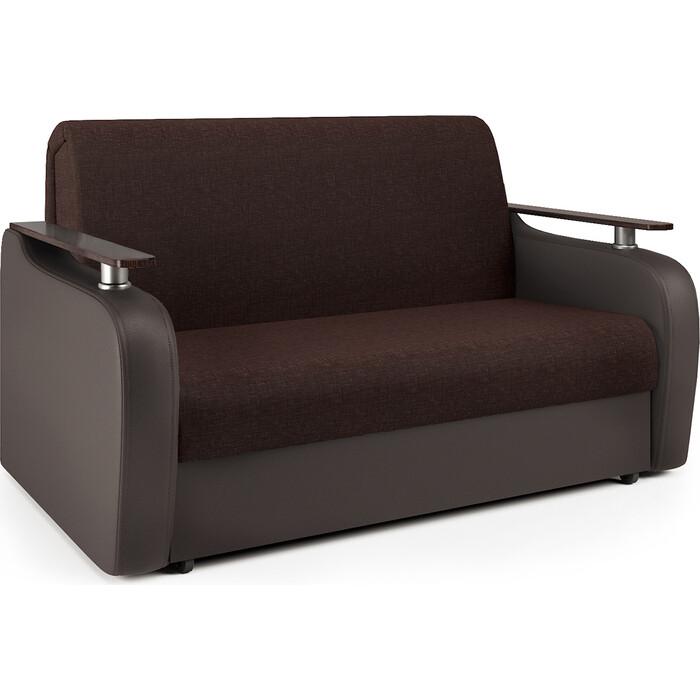 Диван-кровать Шарм-Дизайн Гранд Д 140 рогожка шоколад и экокожа