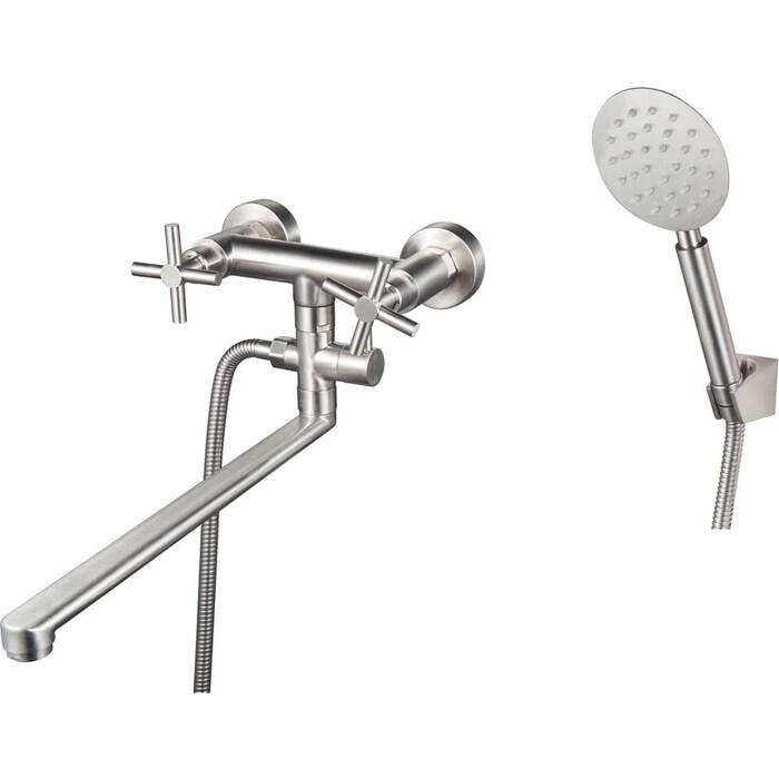 Смеситель для ванны РМС SUS124 с душем, нержавеющая сталь (SUS124-140P)