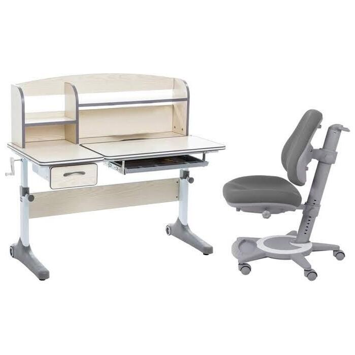 Комплект FunDesk Парта Ammi grey + кресло Bravo