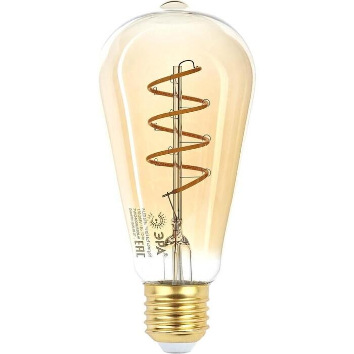 Лампа ЭРА светодиодная филаментная E27 7W 2400K прозрачная F-LED ST64-7W-824-E27 spiral gold Б0047665