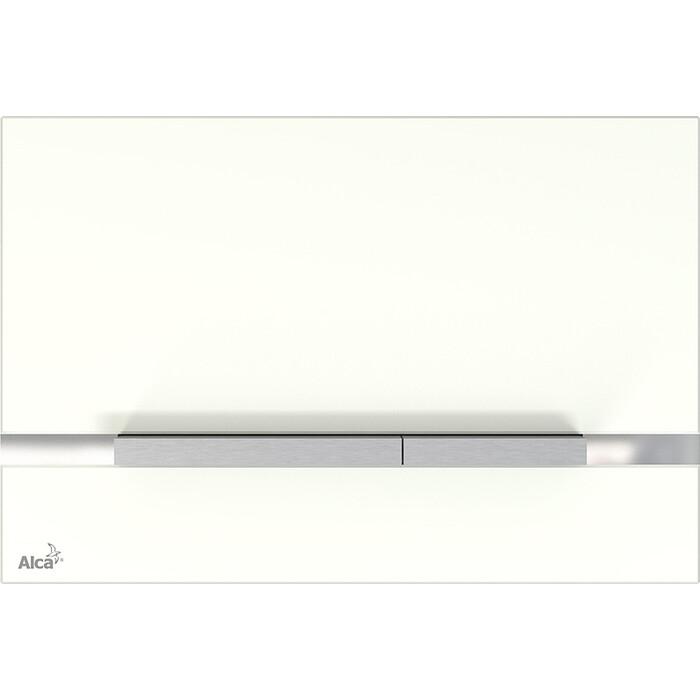 Кнопка смыва AlcaPlast стекло белое (STRIPE-GL1200)