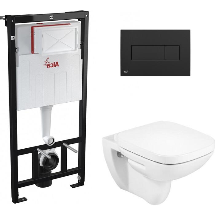 Комплект унитаза Roca Debba Rimless с инсталляцией, кнопкой, сиденьем микролифт (34699L00Y, ZRU9302826, AM101/1120, M378)