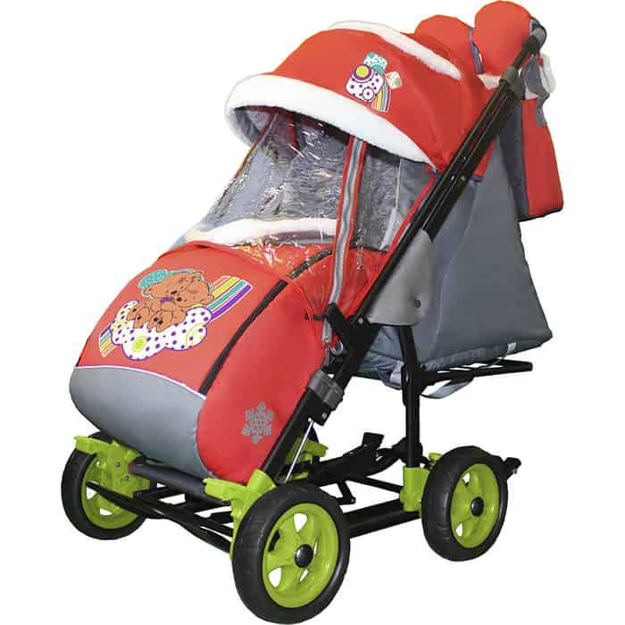 Санки-коляска SNOW GALAXY City-3-1 Два медведя на облаке красном больших колёсах+сумка+варежки