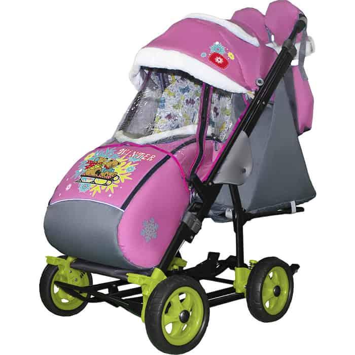 Санки-коляска SNOW GALAXY City-3-1 Два медведя на санях розовом больших колёсах+сумка+варежки