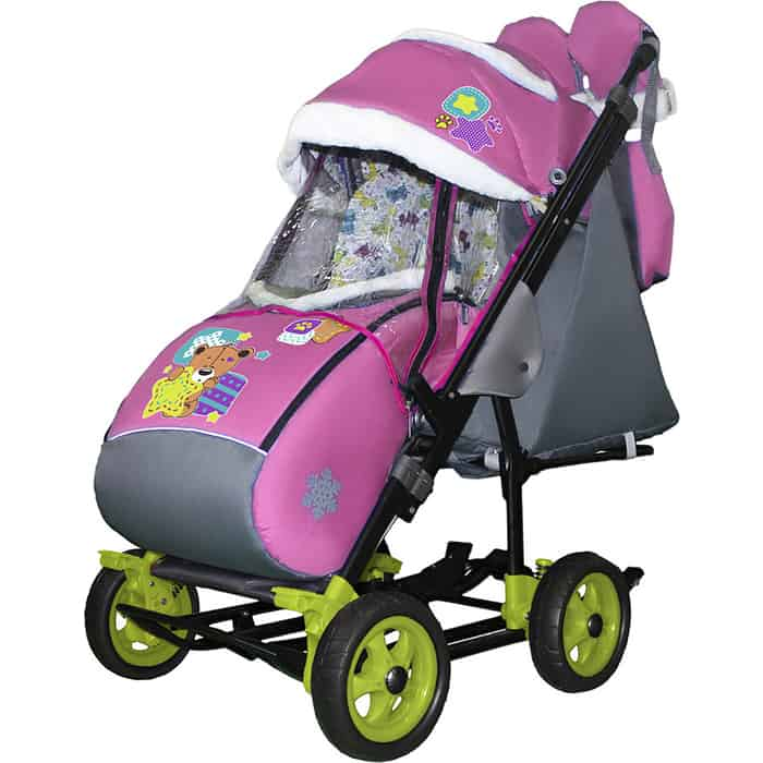 Санки-коляска SNOW GALAXY City-3-1 Мишка со звездой на розовом больших колёсах+сумка+варежки