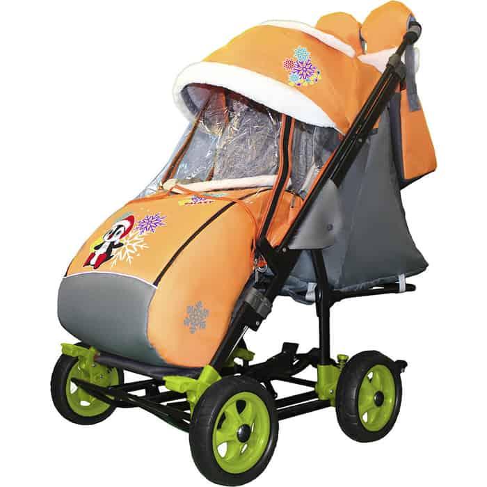 Санки-коляска SNOW GALAXY City-3-1 Пингвин на оранжевом больших колёсах+сумка+варежки