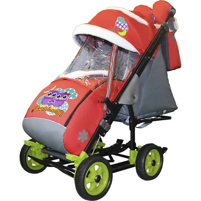 Санки-коляска SNOW GALAXY City-3-1 Совушки на красном больших колёсах+сумка+варежки