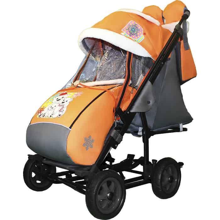 Санки-коляска SNOW GALAXY City-3-1 Три медведя на оранжевом больших колёсах+сумка+варежки