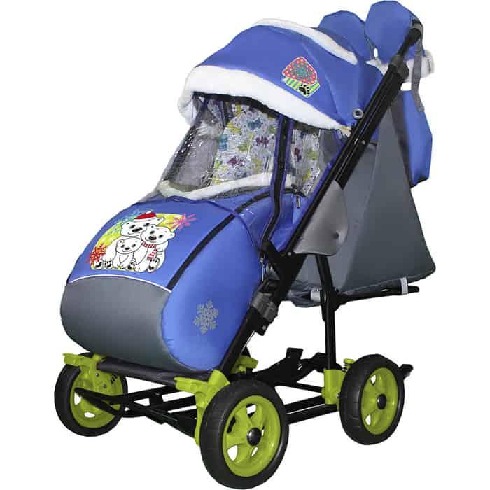 Санки-коляска SNOW GALAXY City-3-1 Три медведя на синем больших колёсах+сумка+варежки