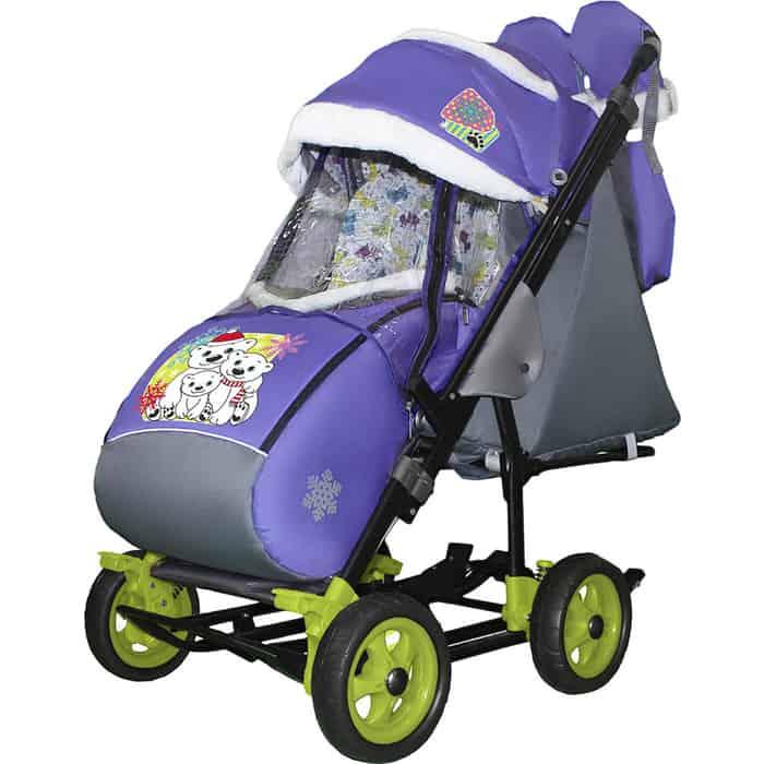Санки-коляска SNOW GALAXY City-3-1 Три медведя на фиолетовом больших колёсах+сумка+варежки