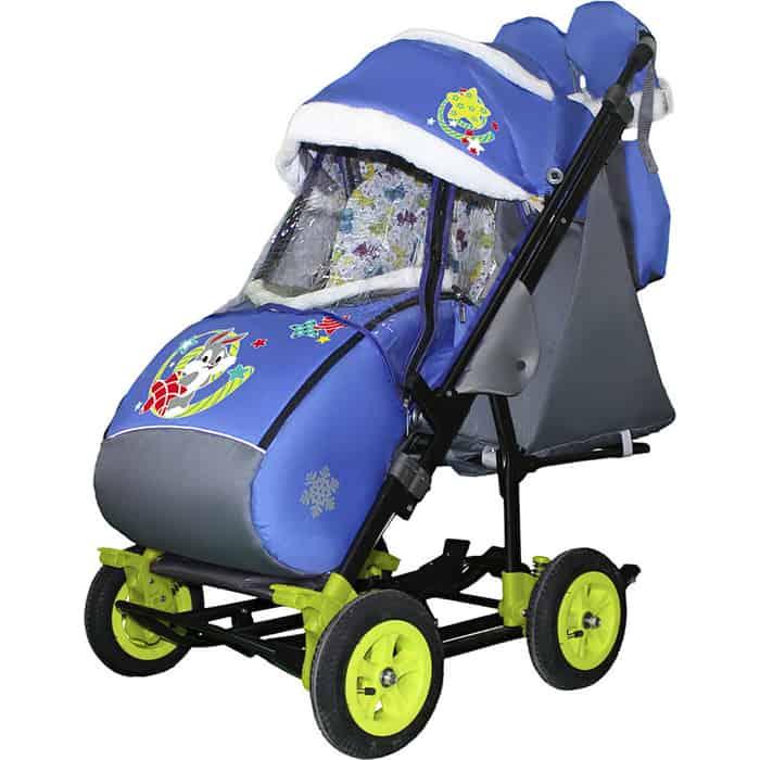 Фото - Санки-коляска SNOW GALAXY City-3-2 Зайка серый на синем на больших надувных колёсах+сумка+варежки санки коляска snow galaxy city 3 1 три медведя на фиолетовом на больших колёсах сумка варежки