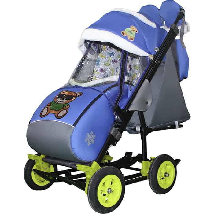 Санки-коляска SNOW GALAXY City-3-2 Мишка в зелёном на синем больших надувных колёсах+сумка+варежки