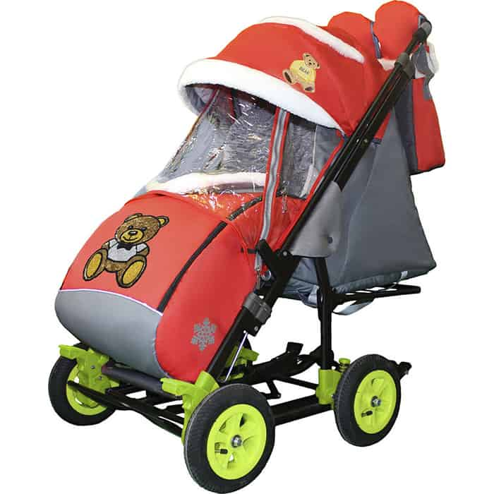 Фото - Санки-коляска SNOW GALAXY City-3-2 Мишка с бабочкой на красном на больших надувных колёсах+сумка+варежки санки коляска snow galaxy city 3 1 три медведя на фиолетовом на больших колёсах сумка варежки