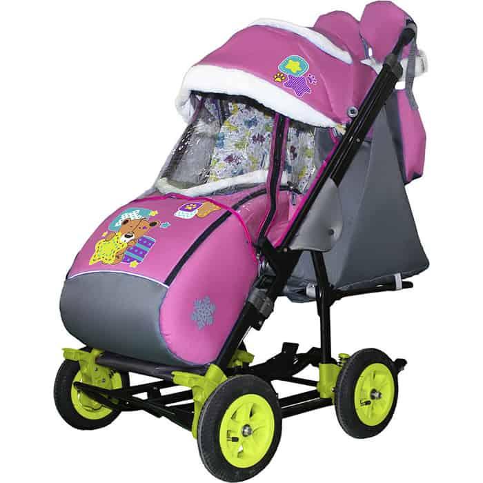 Фото - Санки-коляска SNOW GALAXY City-3-2 Мишка со звездой на розовом на больших наду колёсах+сумка+варежки санки коляска snow galaxy city 3 1 три медведя на фиолетовом на больших колёсах сумка варежки
