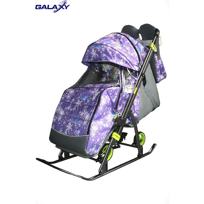 Санки-коляска SNOW GALAXY Kids-3-1 Ёлки на фиолетовом больших колесах+сумка+варежки