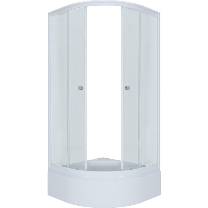 Душевой уголок Triton Эко New В100х100 рифленое стекло, белый профиль (Щ0000039152)