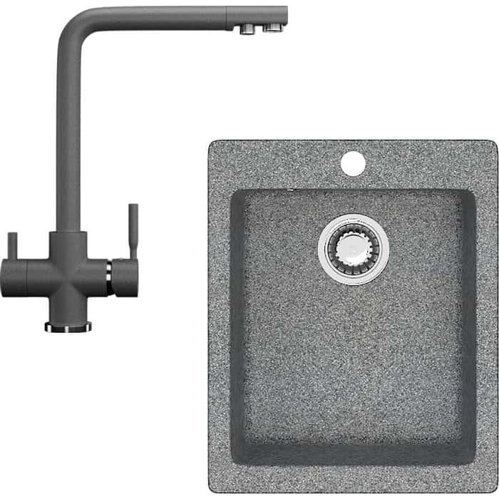 Комплект кухонной мойки Ganza G-008 со смесителем GN-08 c подключением к фильтру, темно-серый