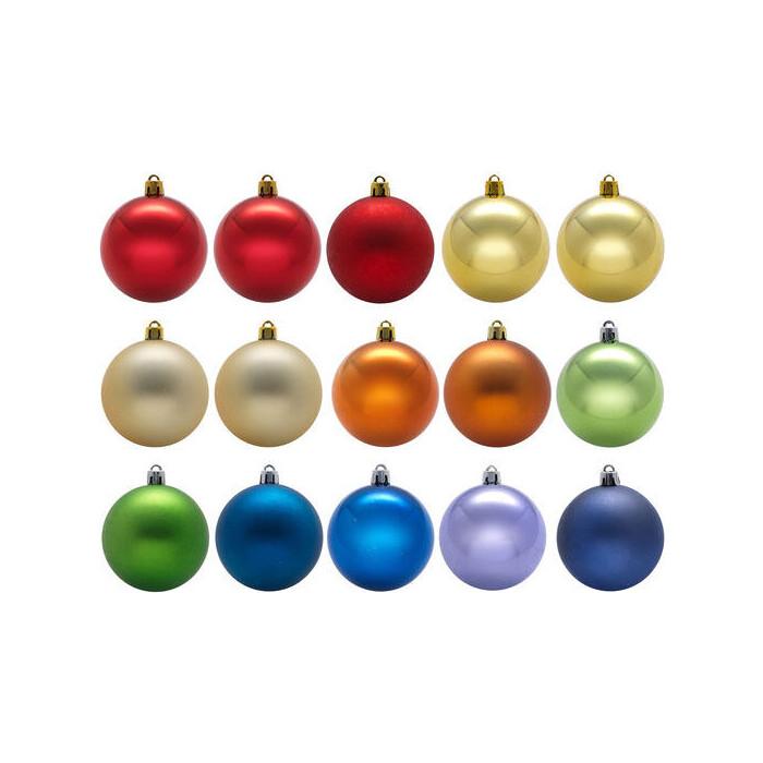 Елочное украшение Snowmen шар 7см 15шт разноцветные Е93126