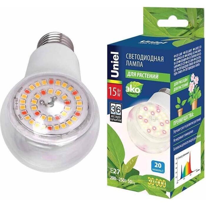 Лампа Uniel светодиодная для растений (UL-00007405) E27 15W прозрачная LED-A60-15W/SPFB/E27/CL PLP30WH