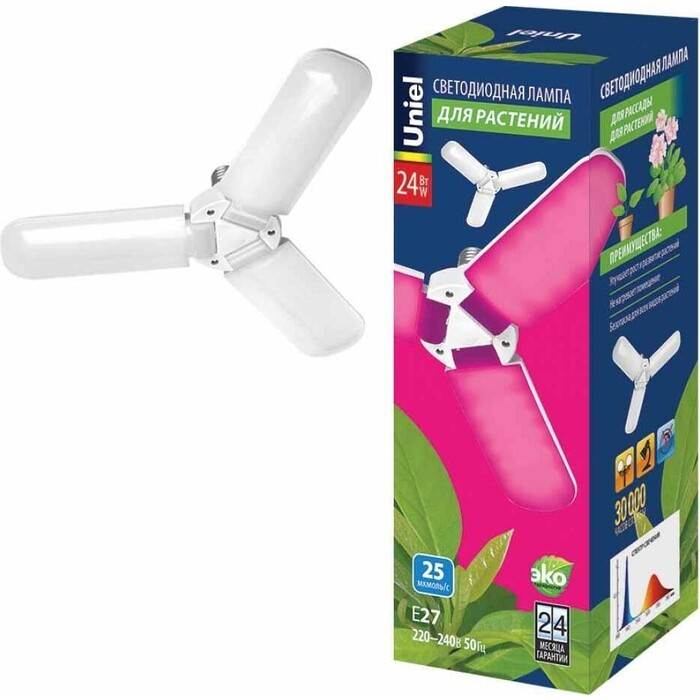 Лампа Uniel светодиодная для растений (UL-00007407) E27 24W матовая LED-P65-24W/SPSB/E27/FR/P3 PLP32WH