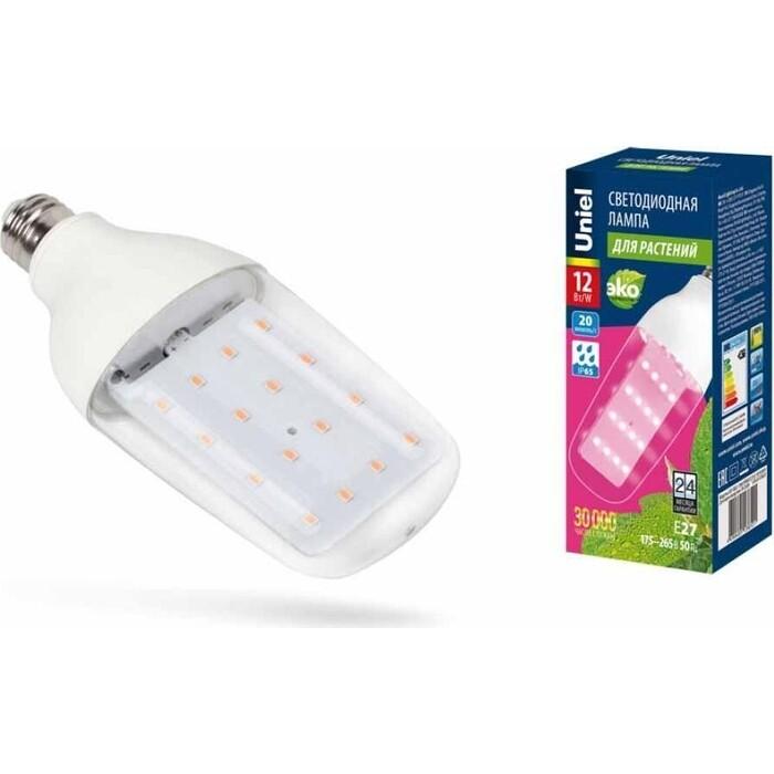 Лампа Uniel светодиодная для растений (UL-00007647) E27 12W прозрачная LED-B82-12W/SPBR/E27/CL PLP33WH