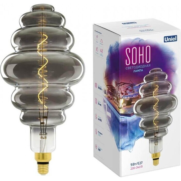 Лампа Uniel светодиодная филаментная (UL-00005920) E27 5W 2250K серая LED-SF40-5W/Soho/E27/CW Chrome/Smoke GLS77CR