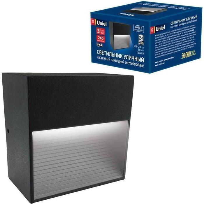Светильник Uniel Уличный настенный светодиодный (UL-00006804) ULU-S03A-3W/4000K IP54 Black