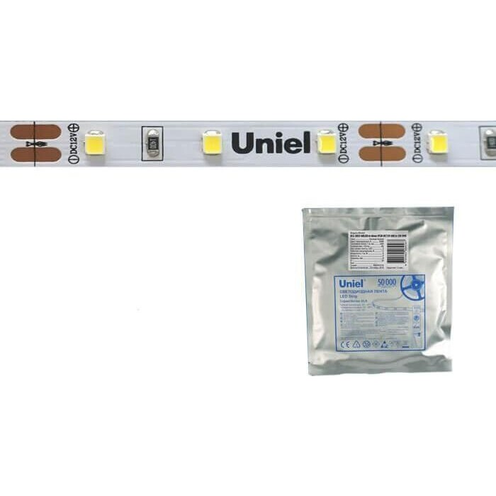 Лента свтодиодная Uniel (UL-00002969) 60LED/m 6W/m 2835SMD холодный белый 5M ULS-2835-60LED/m-8mm-IP20-DC24V-6W/m-5M-DW