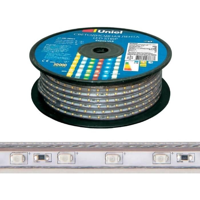 Лента свтодиодная влагозащищенная Uniel (UL-00006482) 10W/m 120LED/m 2835SMD теплый белый 50M ULS-2835-120LED/m-10mm-IP67-220V-10W/m-50M-3000K