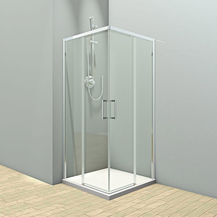 Душевой уголок Veconi Rovigo 80x80 стекло прозрачное, профиль хром (RV47-80-01-19C4)