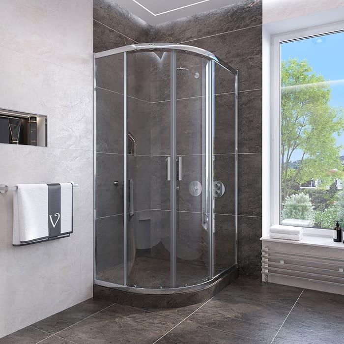 Душевой уголок Veconi Rovigo 90x90 стекло прозрачное, профиль хром (RV107-90-01-19C4)