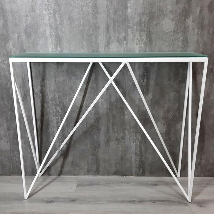 Напольная консоль Akur Loft Cary металлокаркас белый матовое стекло