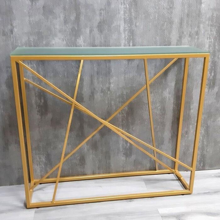 Напольная консоль Akur Loft Paterson металлокаркас золото матовое стекло