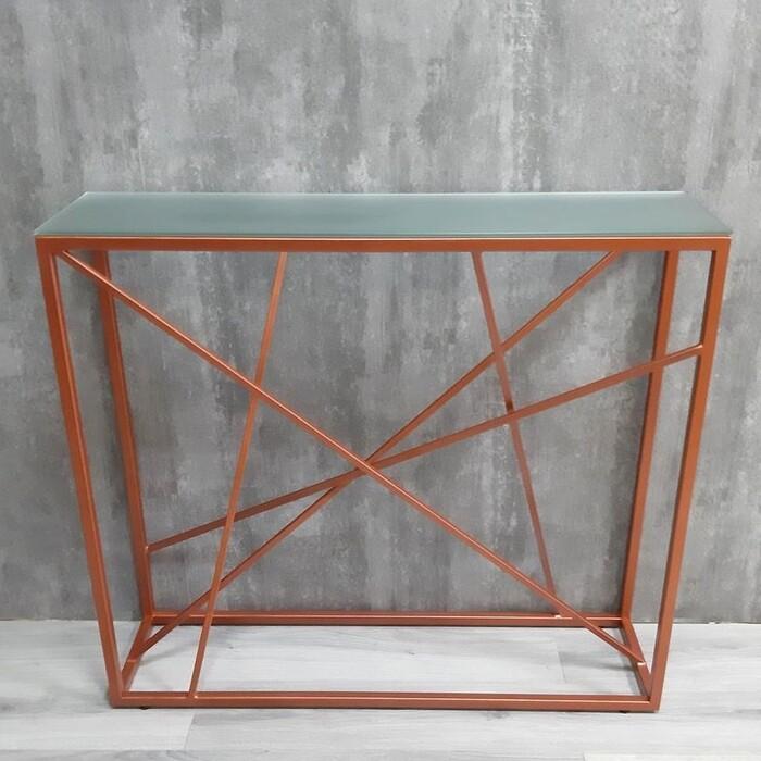 Напольная консоль Akur Loft Paterson металлокаркас медь матовое стекло