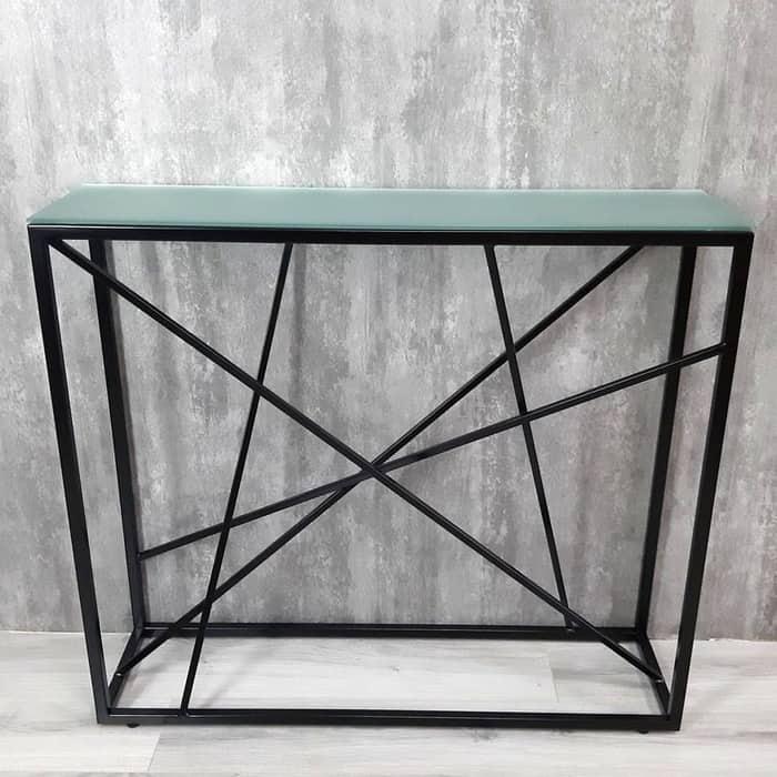 Напольная консоль Akur Loft Paterson металлокаркас черный матовое стекло