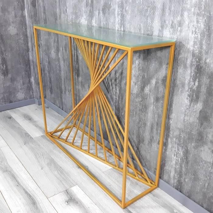 Напольная консоль Akur Loft Paris металлокаркас золото матовое стекло