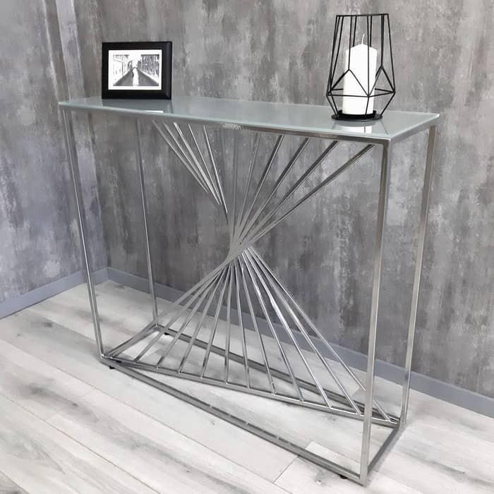 Напольная консоль Akur Loft Paris металлокаркас хром матовое стекло
