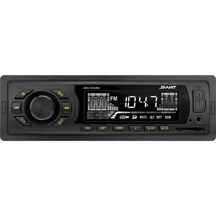 Автомагнитола SWAT MEX-1016UBG/1 din медиа ресивер,4х50 Вт, MP3,USB,SD зелен.кнопки