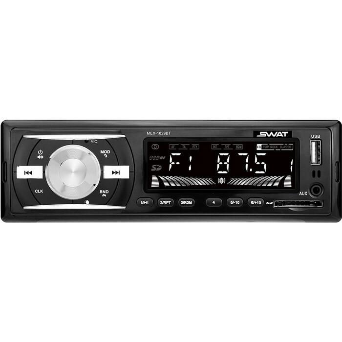 Автомагнитола SWAT MEX-1029BT/1 din медиа ресивер,4х50 Вт, MP3,USB,SD,BT,2RCA белые кнопки